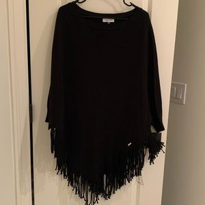 Calvin Klein One Size Fits All Fringe Poncho